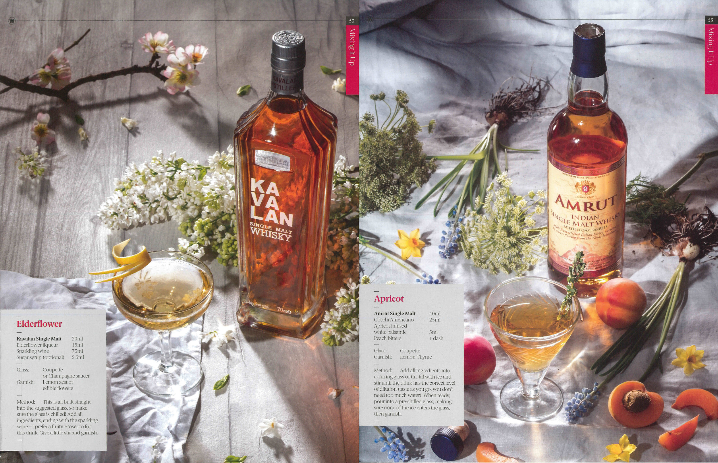 Whiskies from Taiwan and India were included in the Whiskeria magazine 'Spring' themed cocktail shoot.
