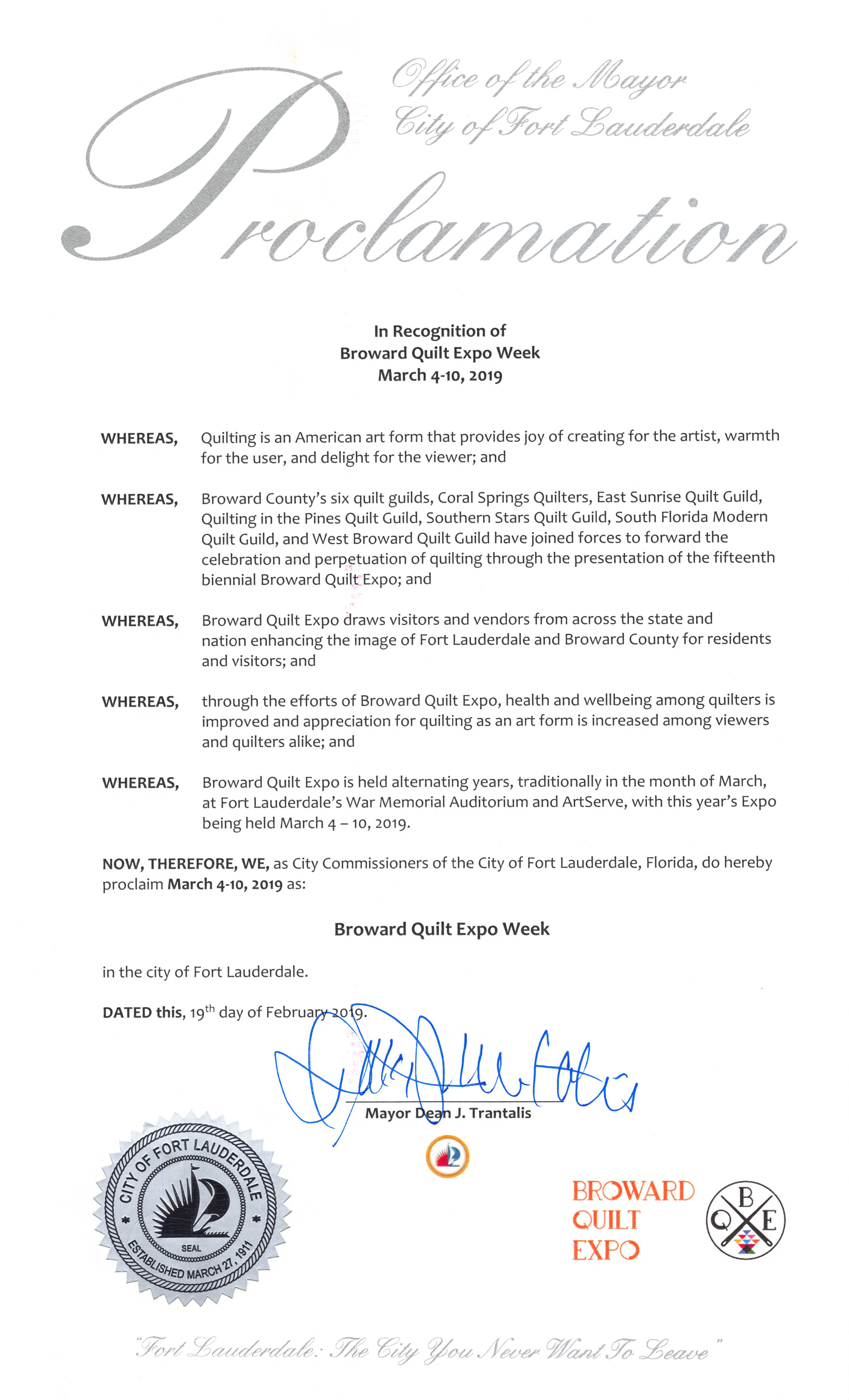 The Proclamation, signed by Mayor Dean Trantalis