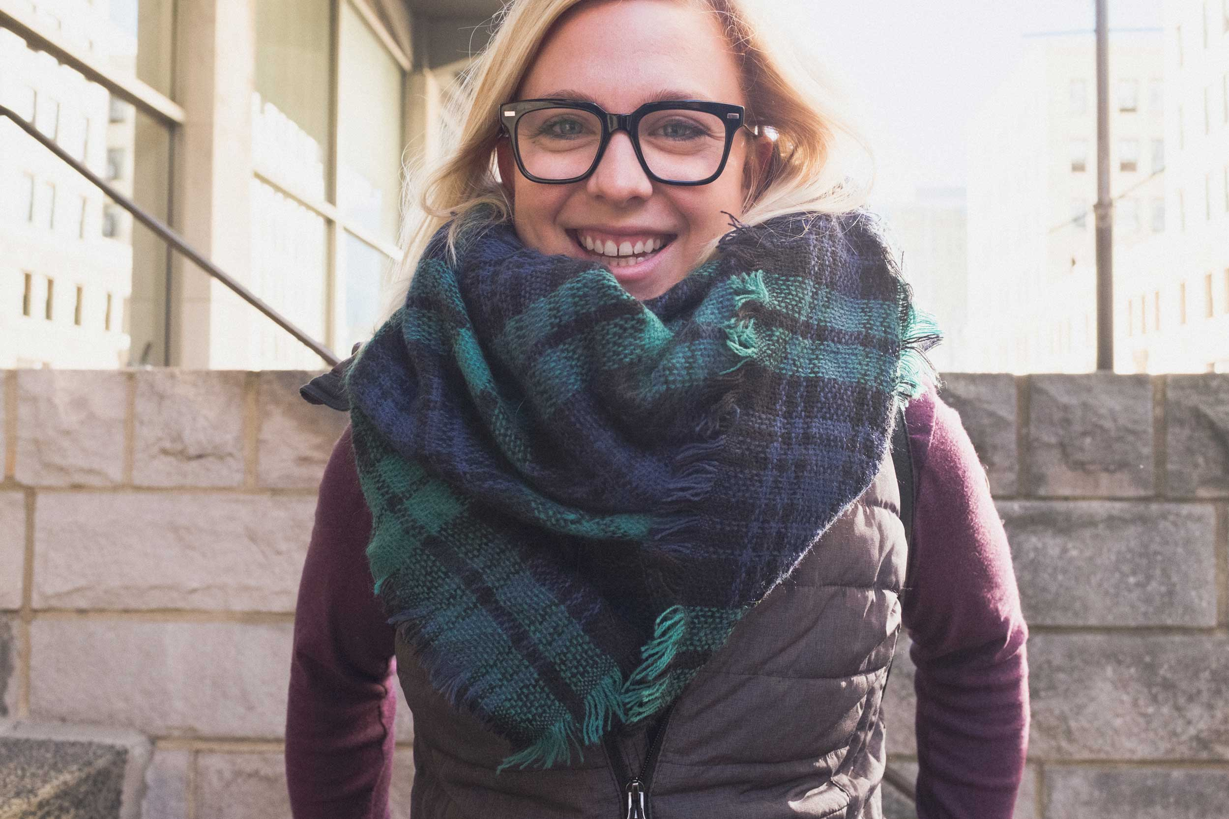 This is Charlotte. Her big scarf speaks volumes about how we feel about fall weather. She tried to make excuses about her penchant for Target clothing. But we care less about what brand it is, and more about how it makes her feel. And it looks like she feels great.