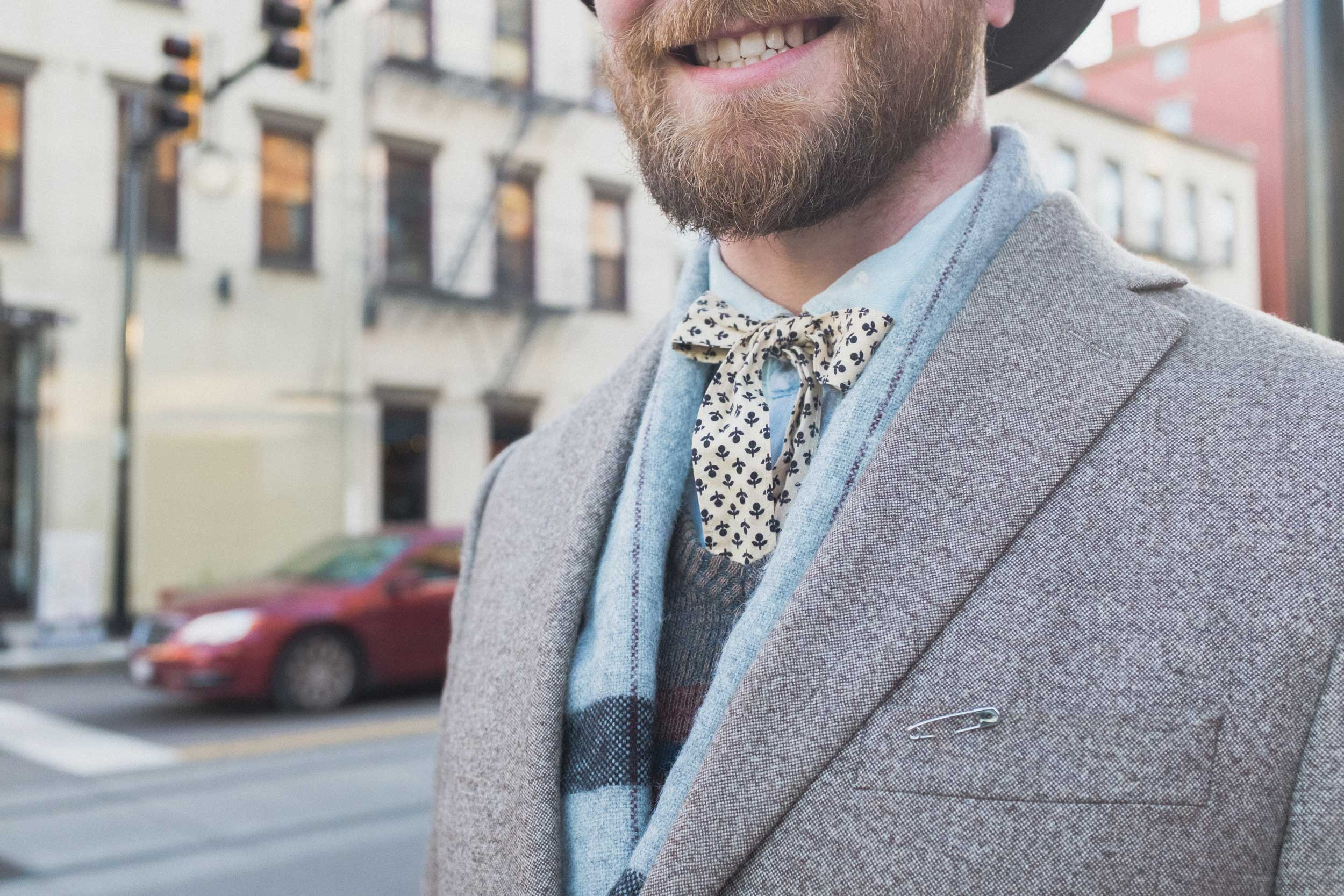 "Hey, can you tell me about your bowtie? ""Well, it's pretty much just a piece of string."" Suffice it to say, we like Matthew's accessories."
