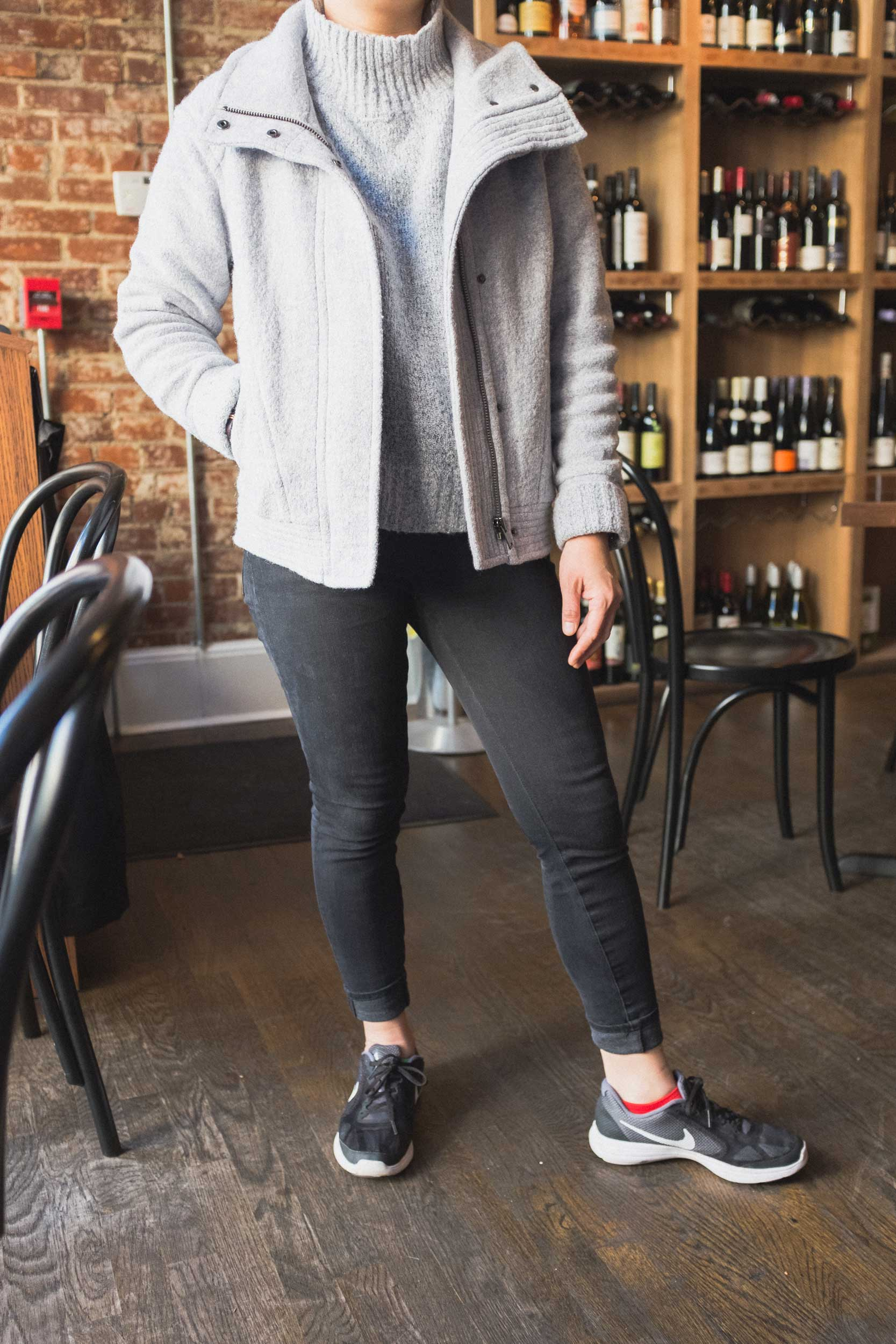 My friend Un-Jin with the perfect amount of color popping off those socks. Hanging out in our neighborhood Wine Bar + Coffee Shop. Yeah, it's as magical as it sounds.