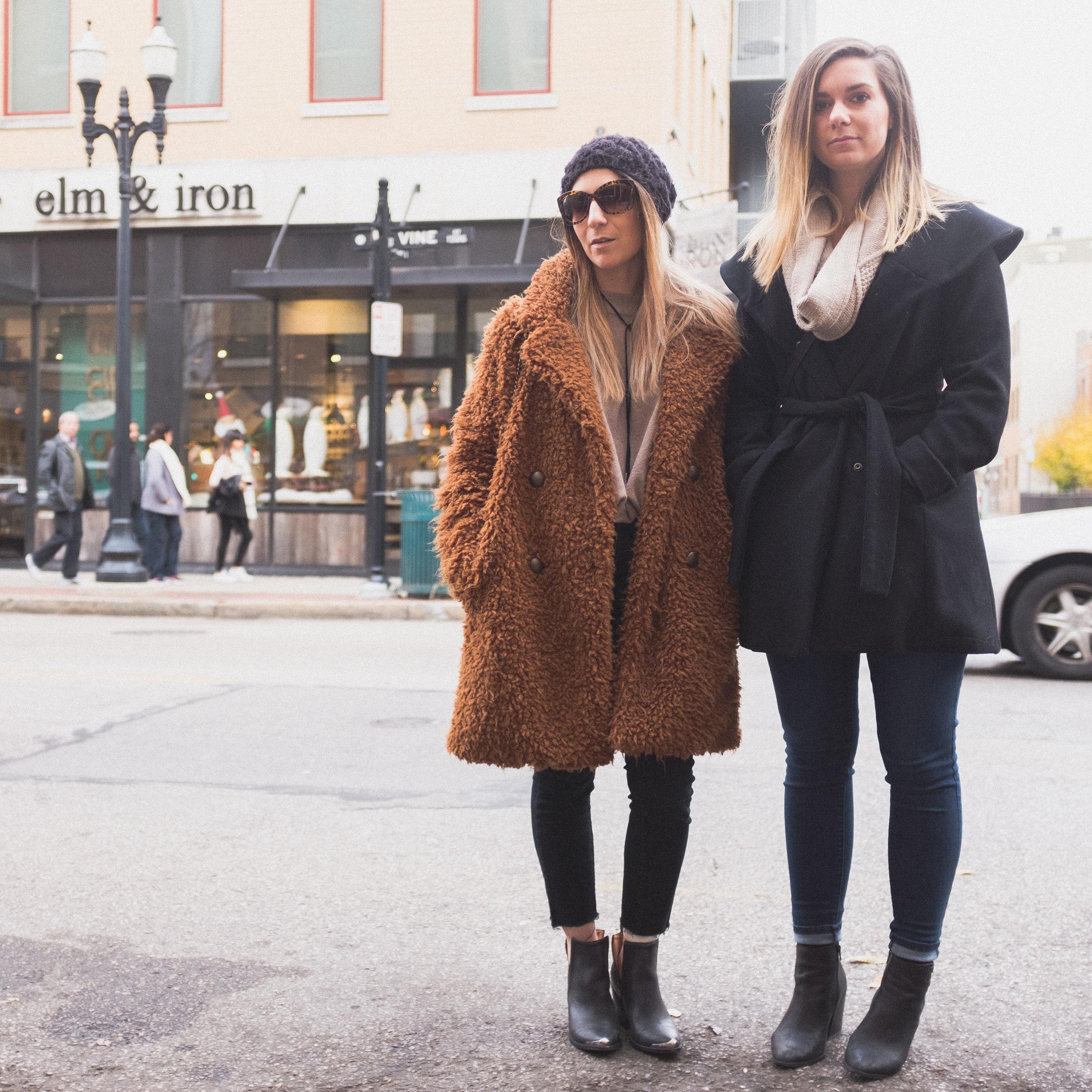 Dakotah and Jordan running the streets looking cute and cozy.