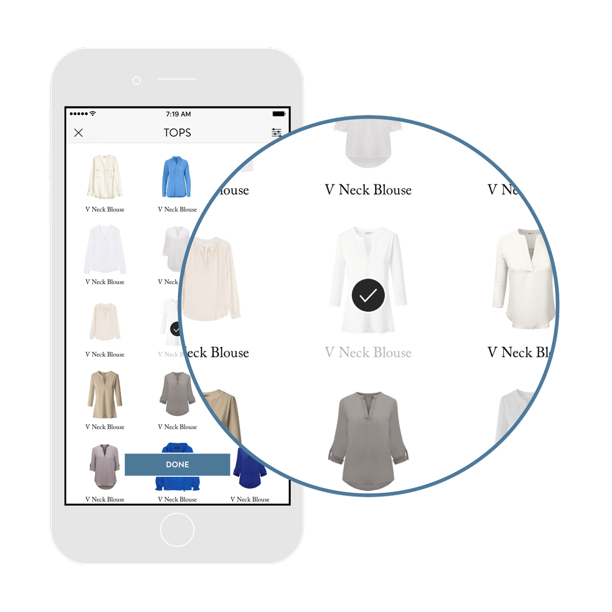 1. ADD YOUR CLOTHES. - Tap on similar items in our growing database or take photos of your own.