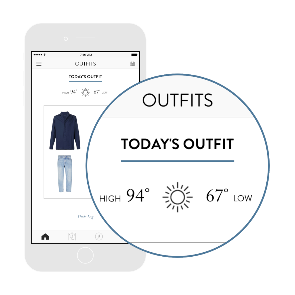 3. Get daily outfit ideas. - Personalized for your weather, occasion, and style.Or, select any item in your closet and see every outfit idea.