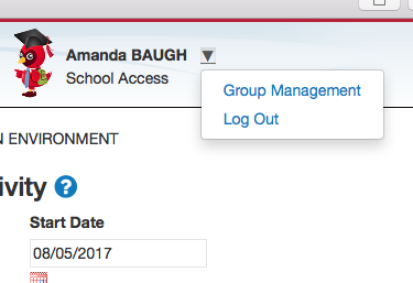 Group Management Dropdown Menu