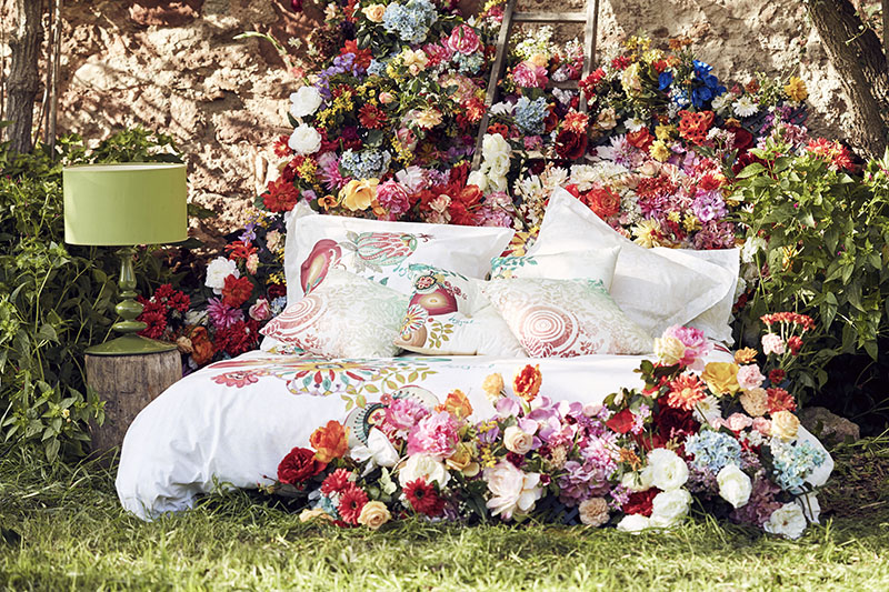 BED LINEN & FABRICS:   Bedding, cushions,throws & curtains