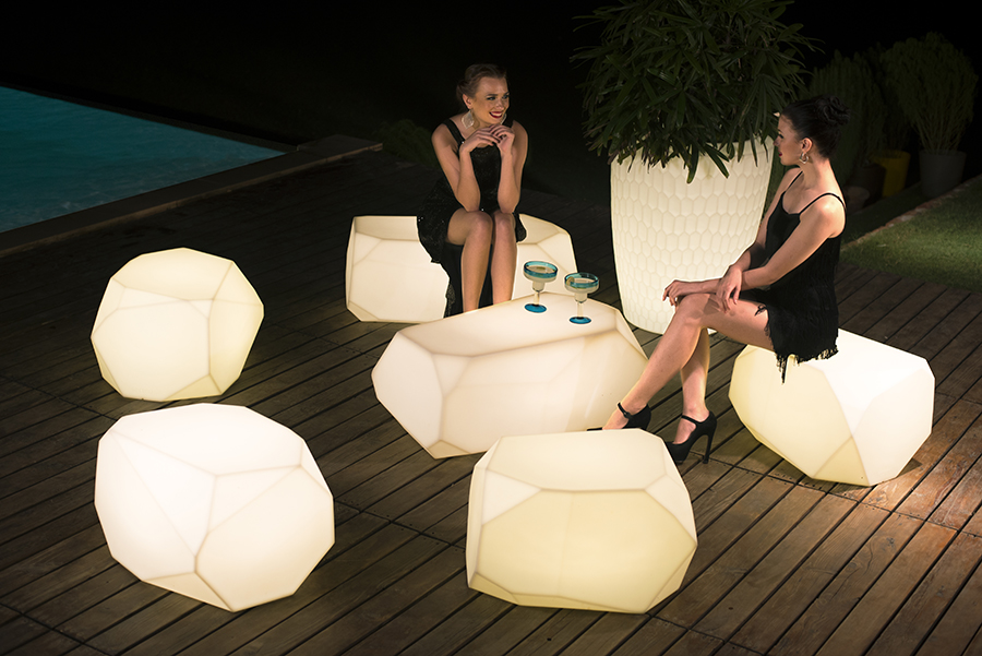 OUTDOOR:  Create an amazing outdoor atmosphere with these illuminated planters & seats