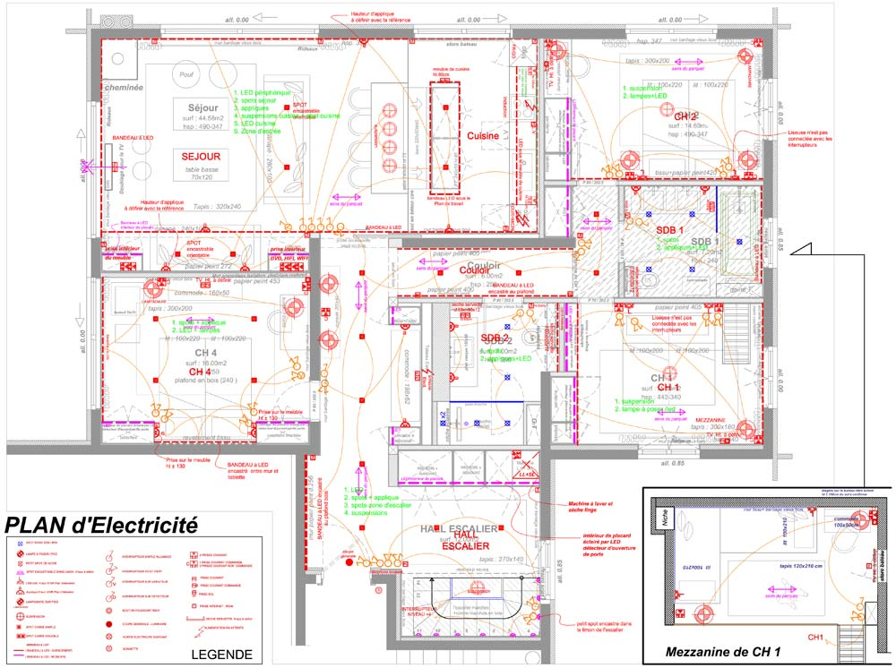 4. ELECTRICAL PLANS - •Drafting of the electric wiring diagram according to proposed arrangement & furniture