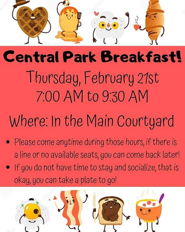 Don't forget, tomorrow is the Central Park tenant breakfast! We hope to see you there!