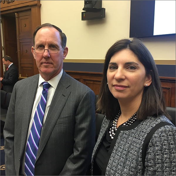 Leading the discussion of the Equity Markets Association congressional staff briefing were Frank Hatheway of NASDAQ (left) and Stacey Cunningham of the NYSE Group.