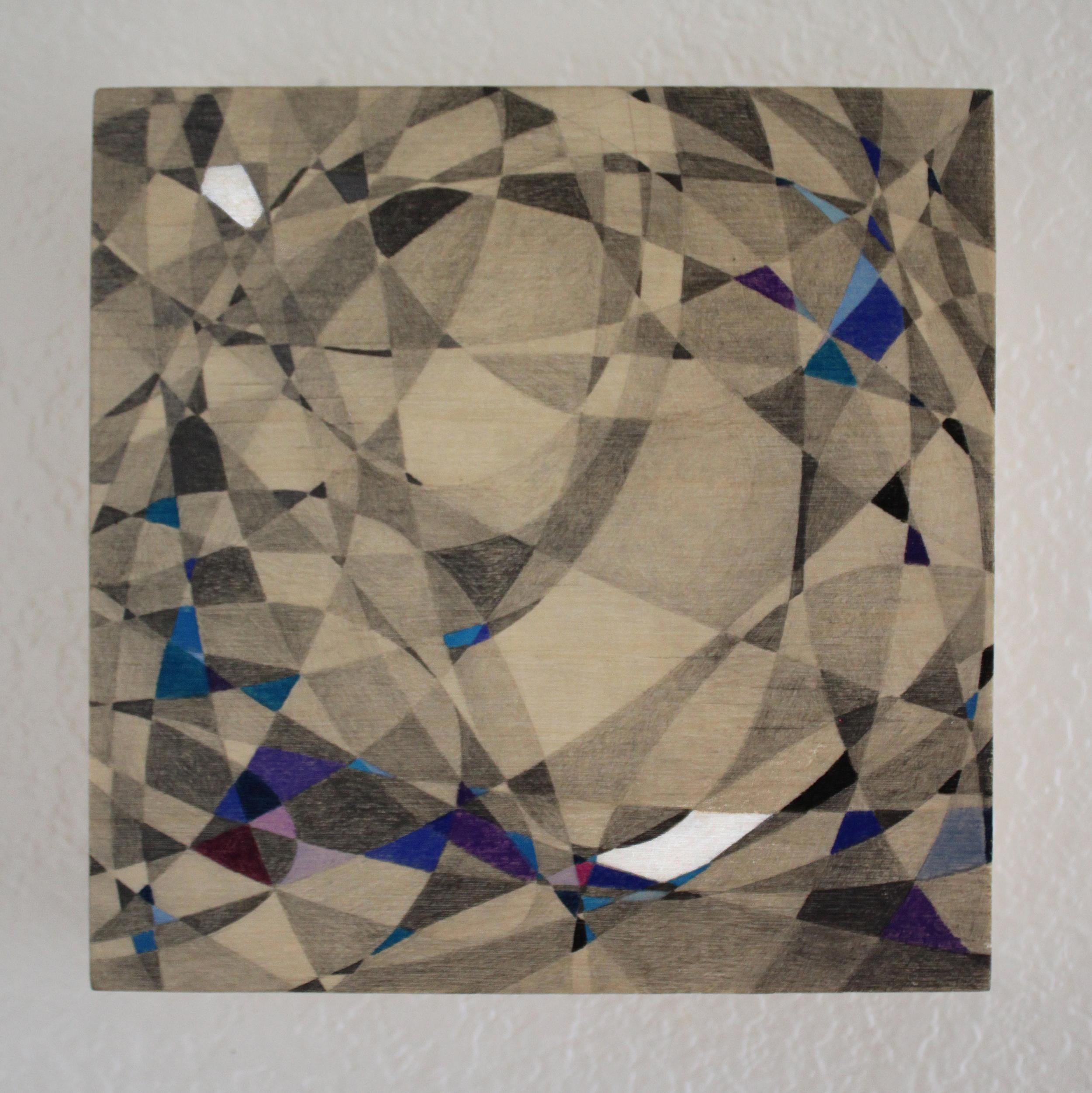"""Abstract II""Pencil on Panel, Resin, 6""x 6""2015 Boz Schurr"