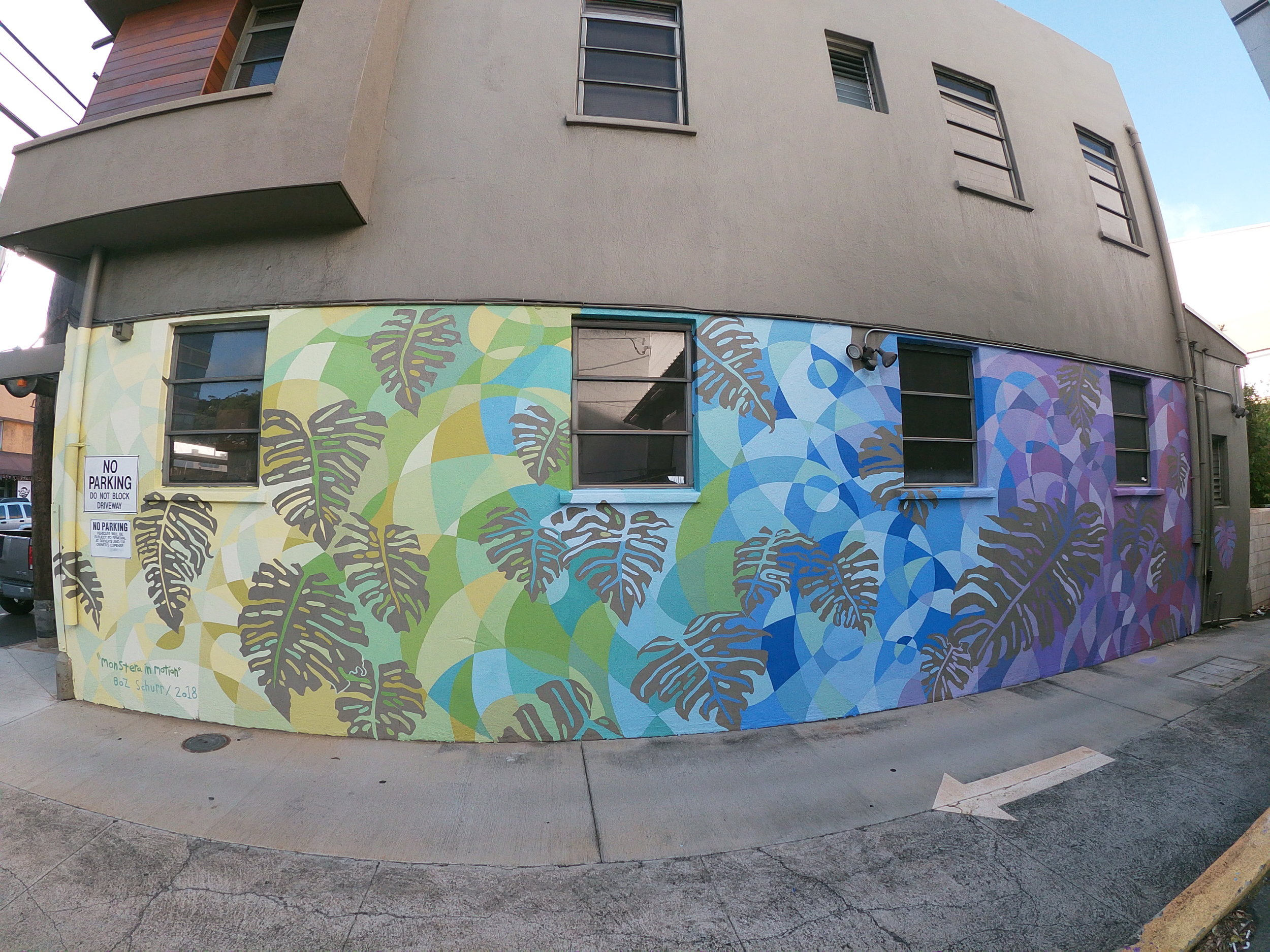 """Monstera in Motion"" Mural in Kaimuki for Spectrum Wealth Management, December 2018 Check out the timelapse  HERE"