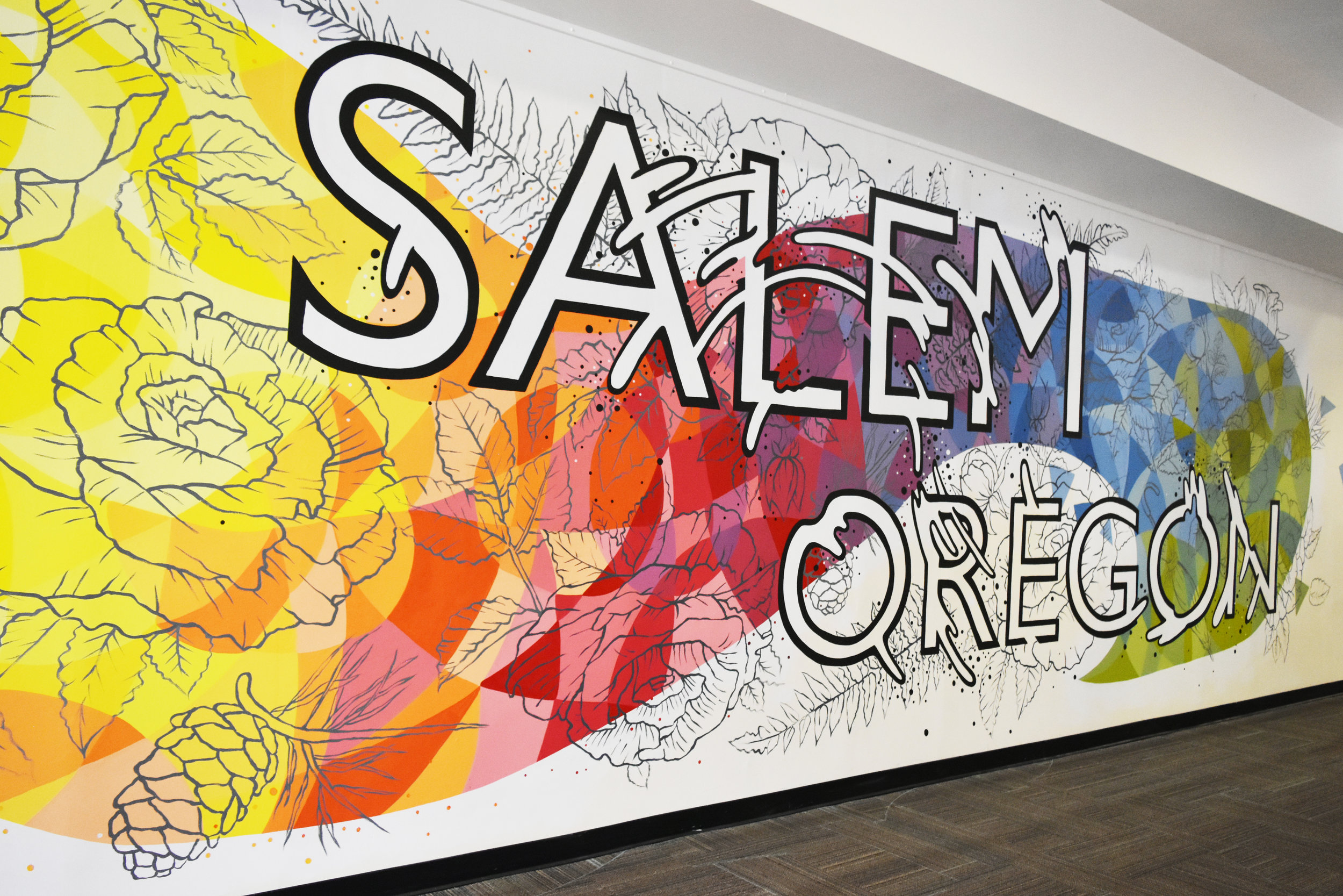 Mural for Salem Center, Salem, Oregon 2019 (Detail) Check out the Typography Timelapse  HERE