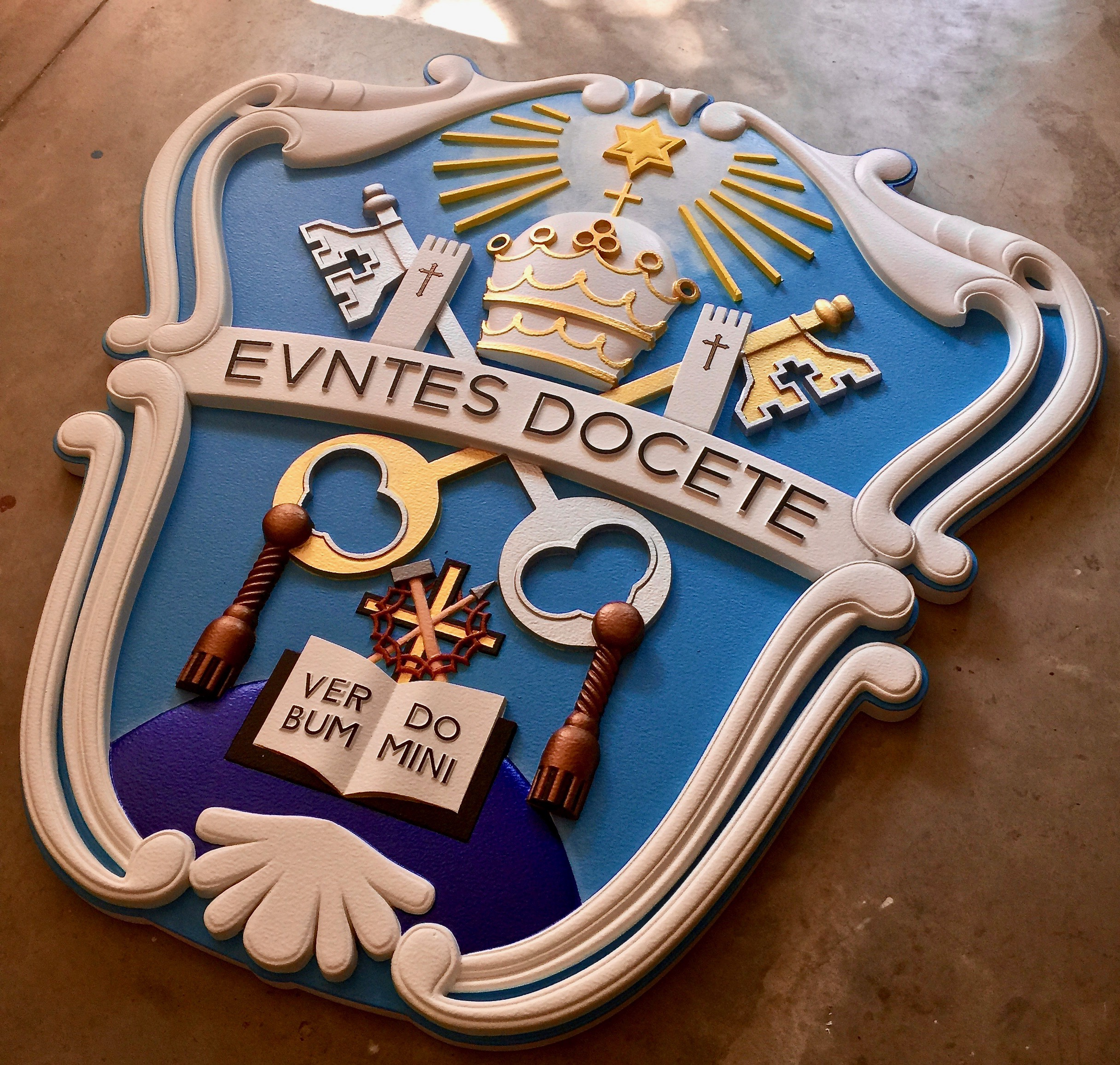 We made this crest for Villa Victoria Academy, an all girls Catholic school in Ewing NJ. This 4ft x 4ft carved plaque will most definately make a positive impression on visitors and students alike.