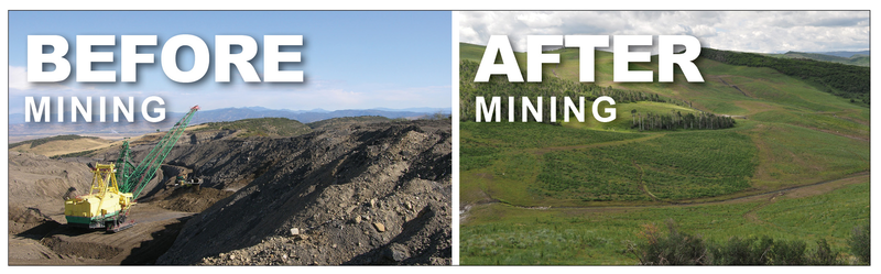 A photo of before and after with reclamation by Peabody Energy, Inc.