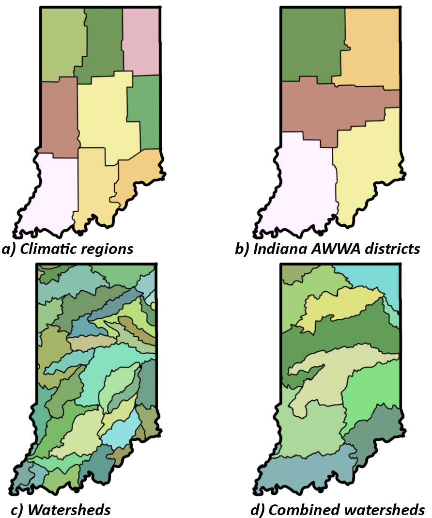 Figure 5. Examples of potential water planning and management regions in Indiana.  (Click to enlarge)