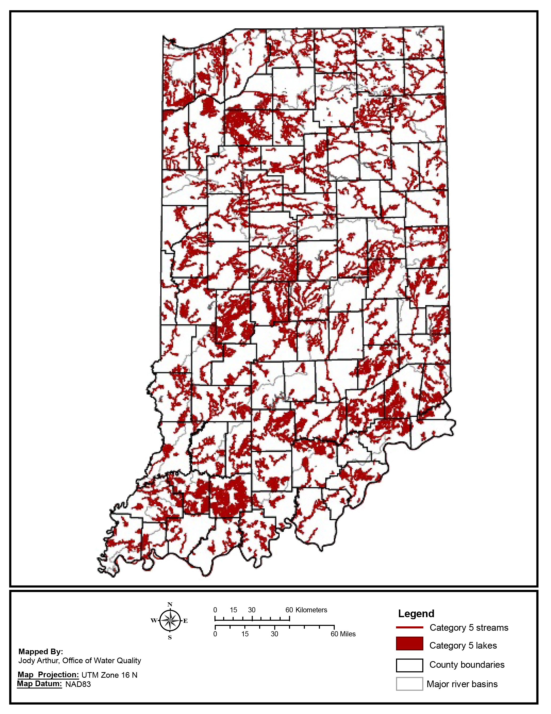 Figure 7. Category 5 impaired streams and lakes in Indiana (IDEM, 2016).  (Click to enlarge)