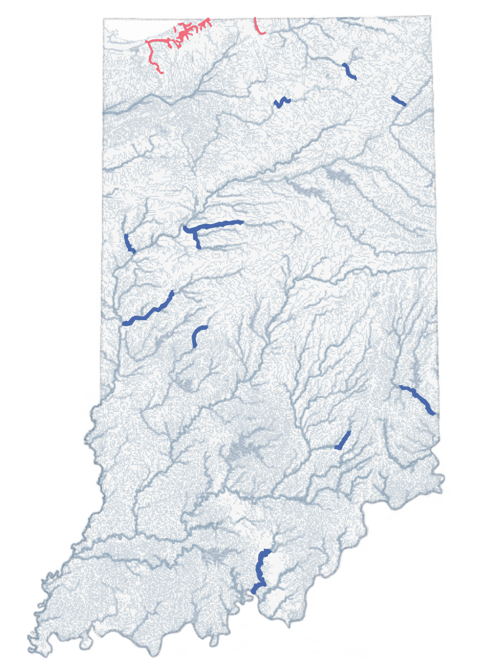 Figure 8. Salmonid streams and (INRC, 2003) waters qualiying for natural or scenic status.  (Click to enlarge)