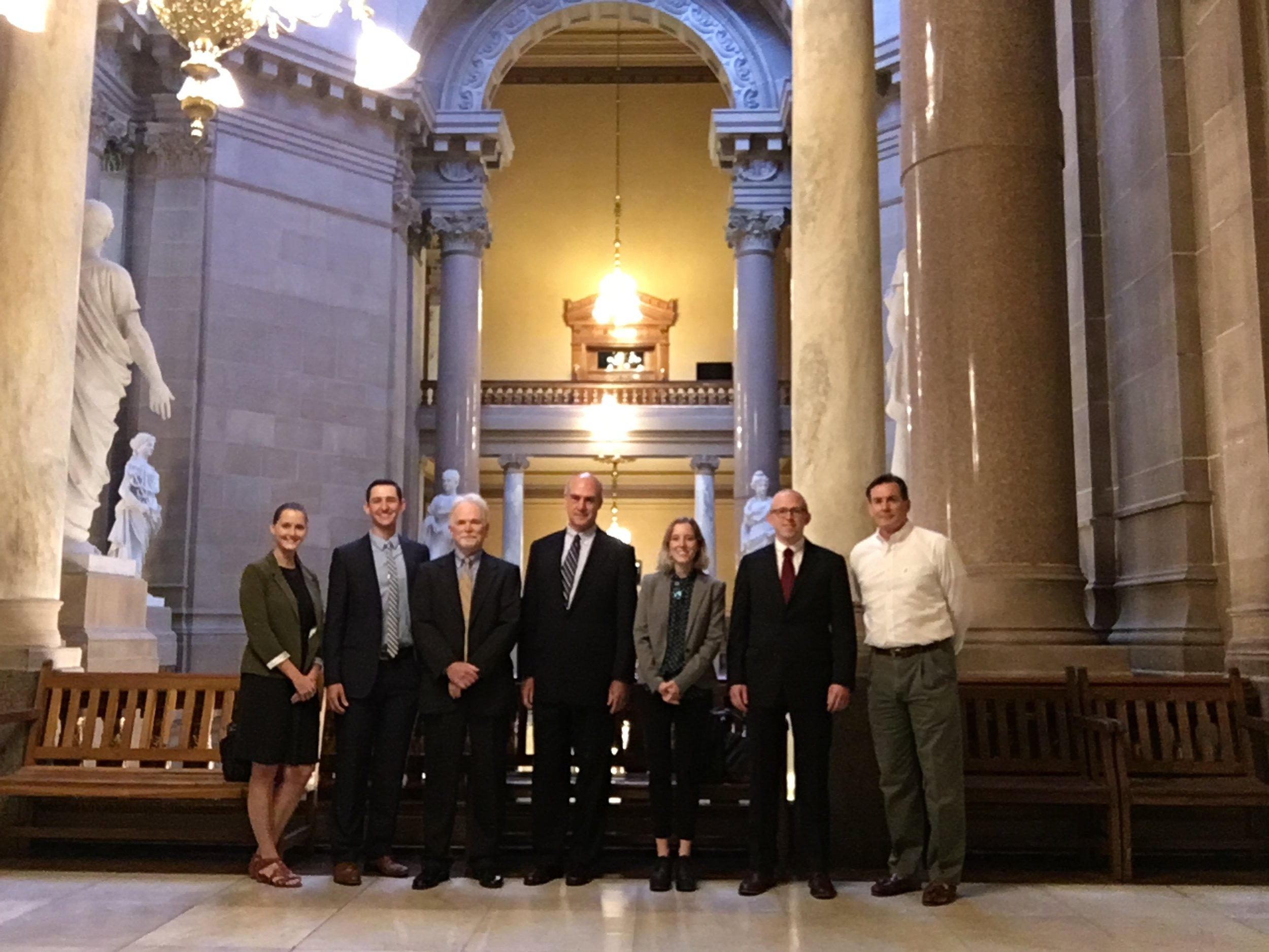 CLC staff at the Indiana Statehouse before the oral argument in September.   Left to right: Lily Bonwich, Bo Mahr, Jeff Hyman, Bill Weeks, Shelby Hoshaw, CJ Buehner, and Dan Klobusnik