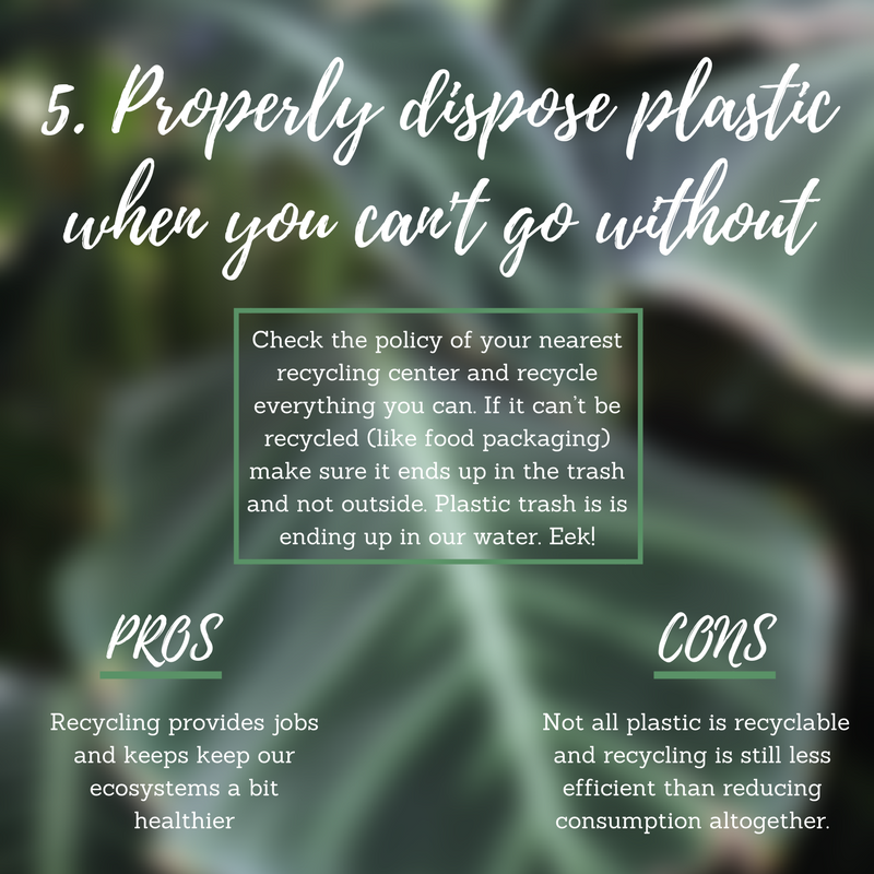 Make sure the plastic you do use is properly disposed.  While many plastics are not recyclable, a lot of the heftier types are. Check the policy of your nearest recycling center and recycle everything you can. If it can't be recycled, like a lot of food packaging, make sure it ends up in the trash and not outside. Plastic trash is is ending up in our water resources. Eek!   Pro:  Recycling provides jobs!   Con:  Not all plastic is recyclable and recycling is still less efficient than reducing consumption altogether.   Pro Tip:  If a certain type of plastic is not recyclable in your area, avoid buying it. Try to find alternatives to reduce the need of throwing it away.