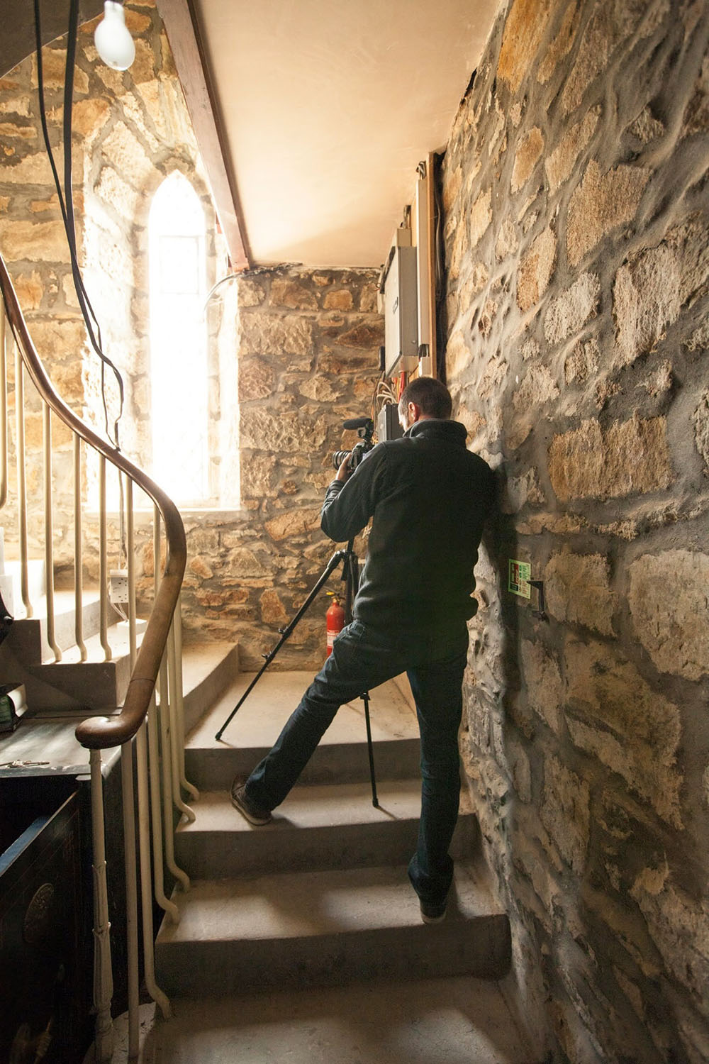 Filming at the church in Methlick