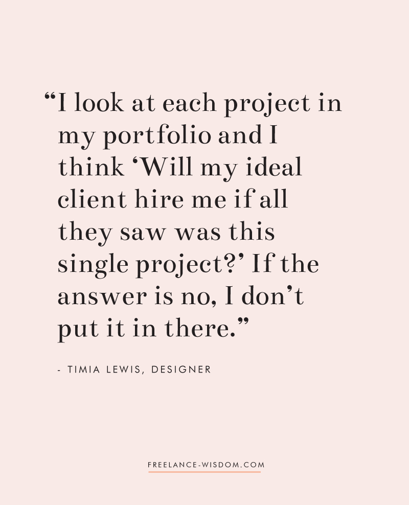 Timia Lewis | On what to include in her portfolio | Freelance Wisdom