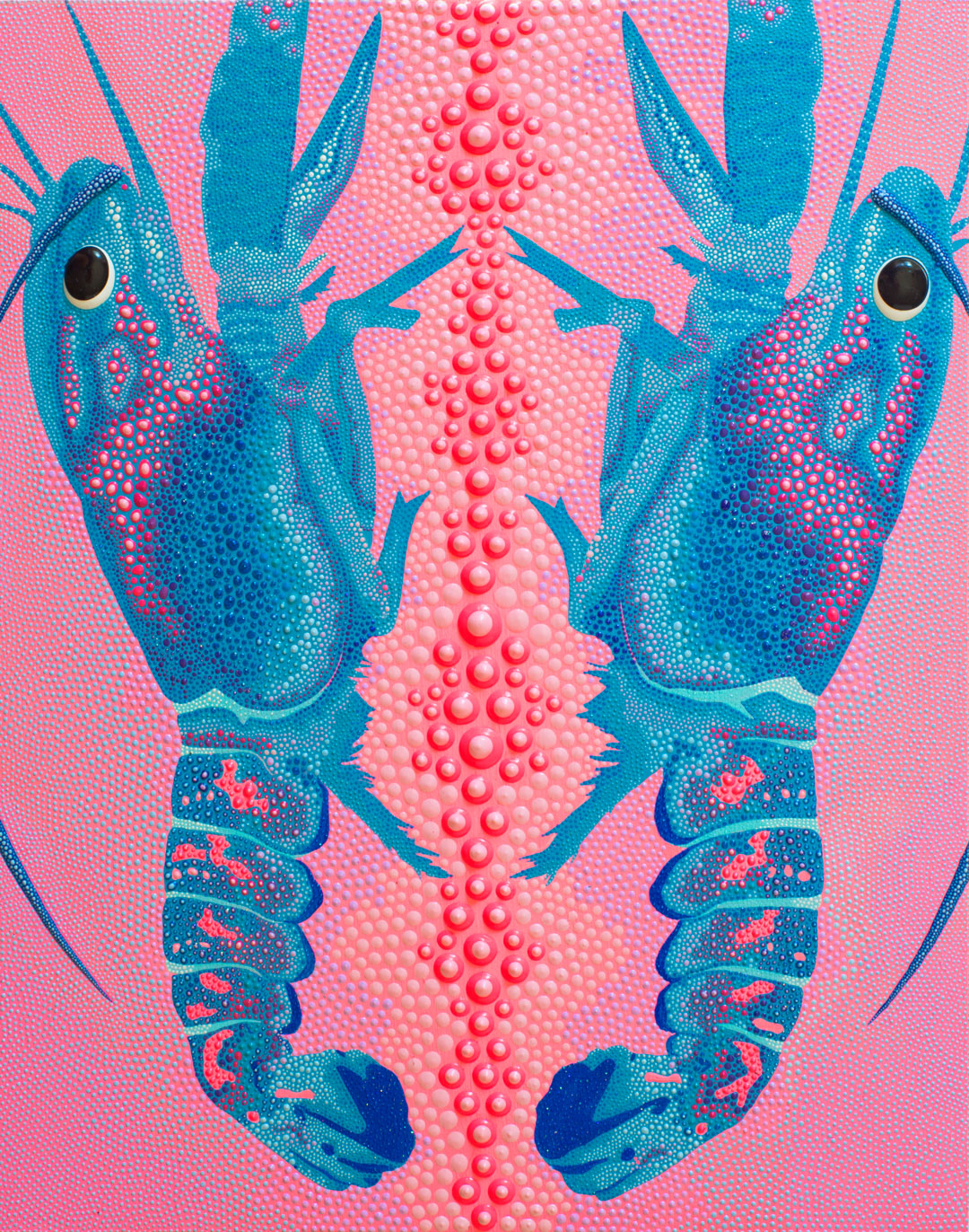 "Cotton Candy Crawfish,  2018, acrylic, dimensional paint on wood panel, 11"" x 14"""