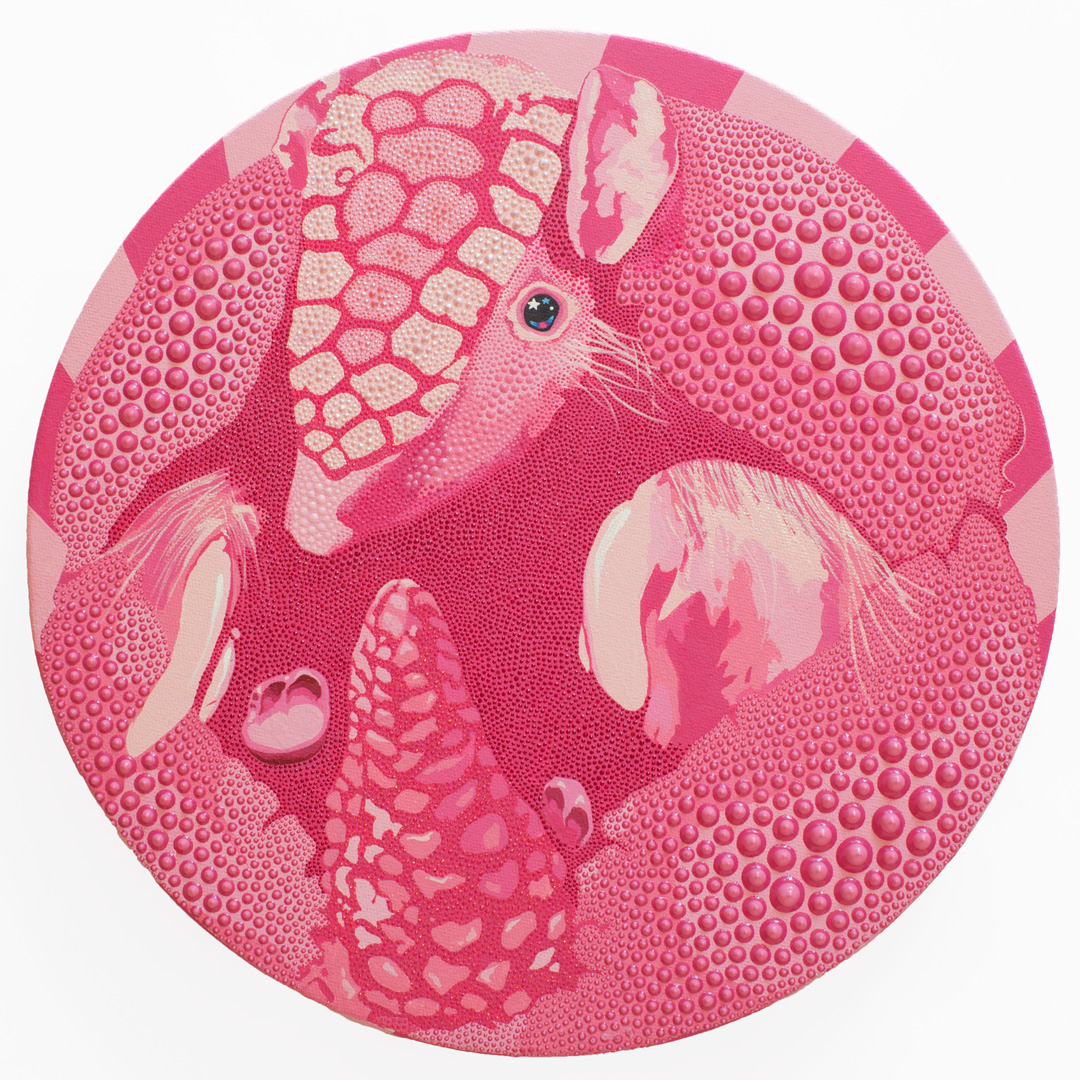 """Pink Fairy Armadillo, 2018, acrylic, dimensional paint on canvas, 12"""" round"""