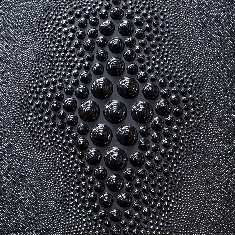"""Obsidian Pelt , 2018, acrylic, dimensional paint on panel, 10"""" x 10"""""""