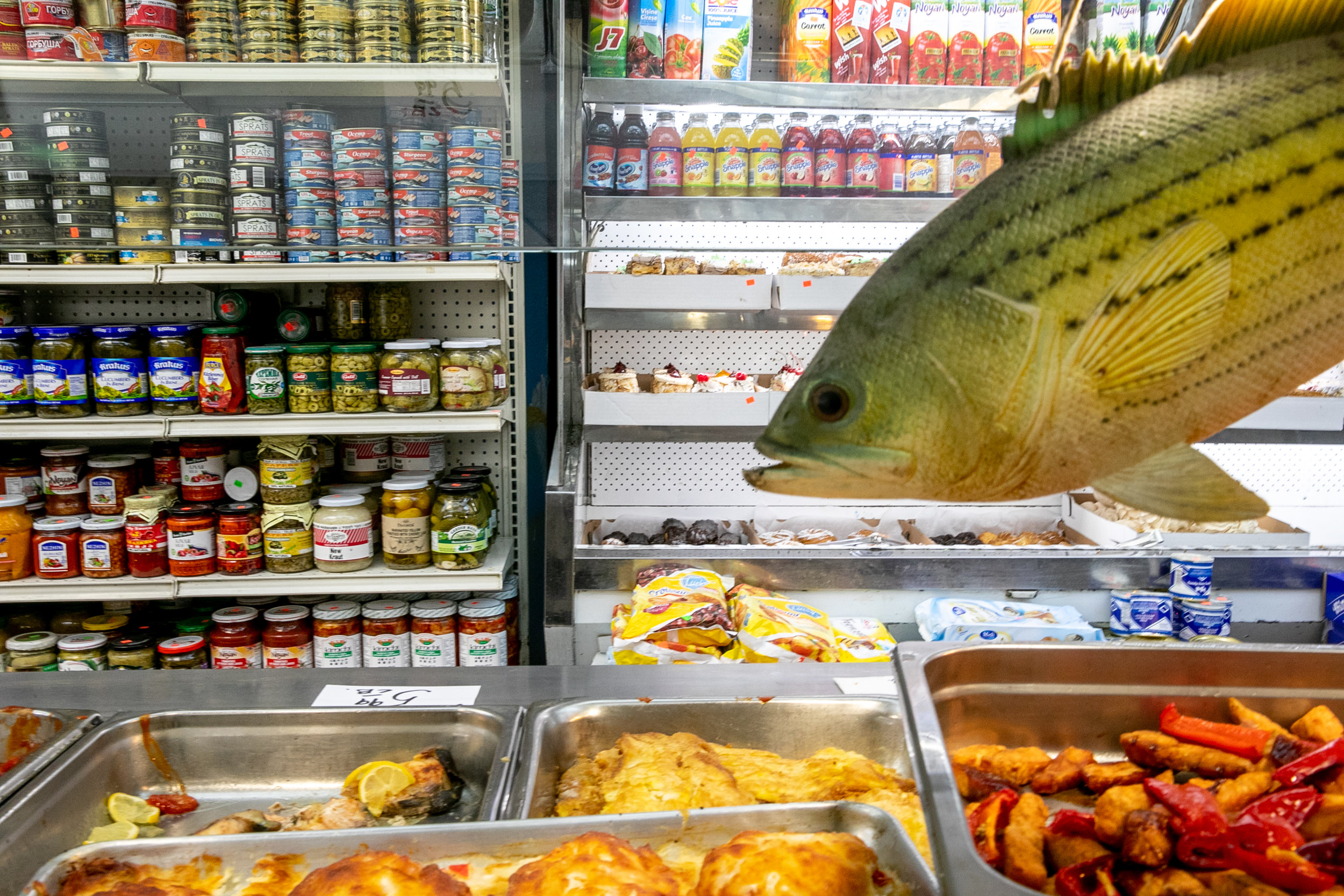 A plastic fish decoration swims over the hot food bar at Gastronom Arkadia, a Russian bodega in Brighton Beach