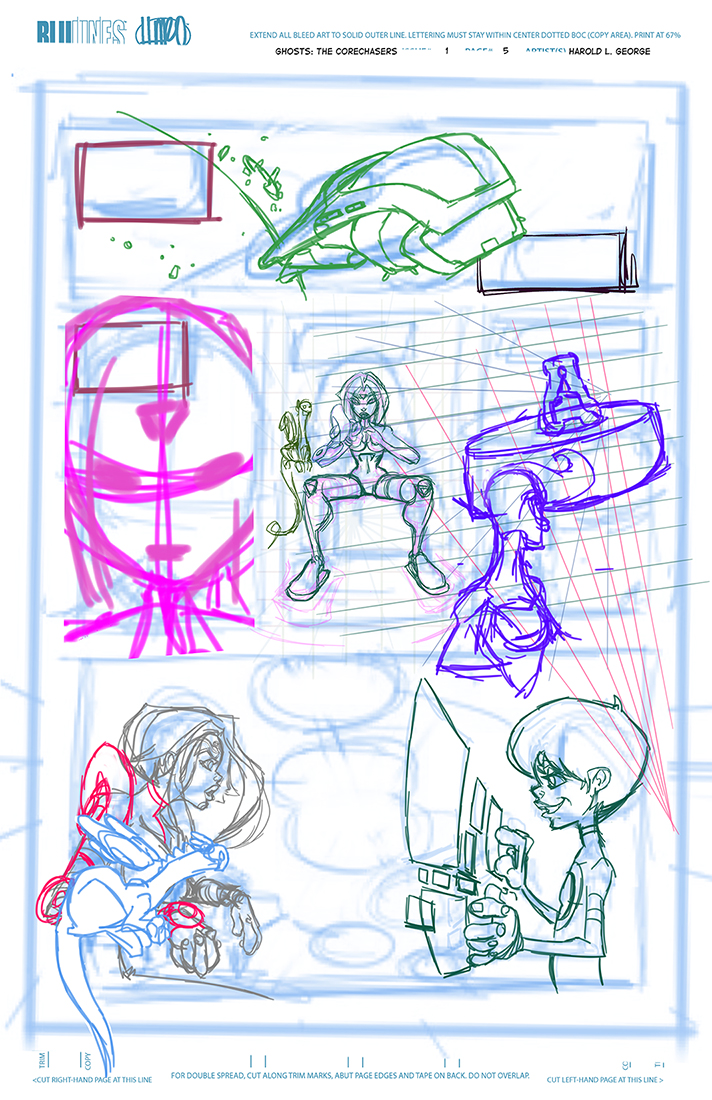 In the rough stage I clean up the lines that I see from the thumbnail into actual characters and backgrounds.