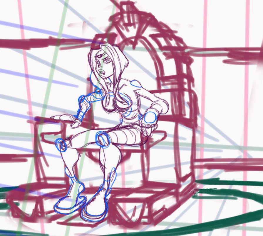 Argus on her commanding chair. From the pages of Ghosts: The Corechasers