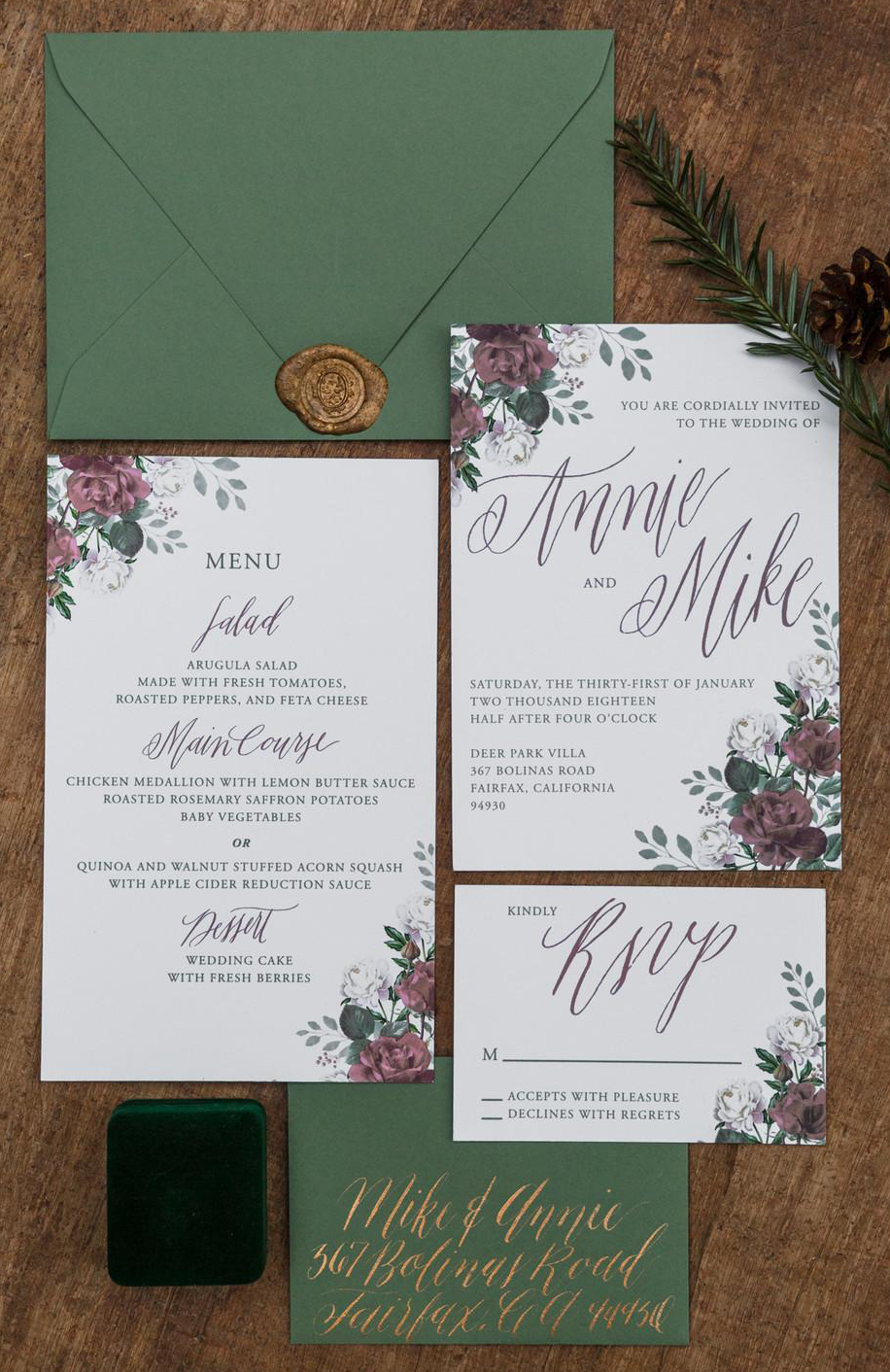 Wedding Invitation Suite w/matching Menu Design. Photo courtesy of  Lara Onac Photography .