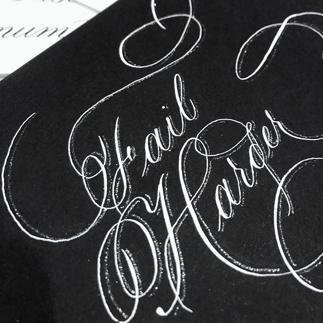 Try harder. Learn harder. Love harder. Work harder. Think harder.  Everyday, fail harder.  #calligraphy #louisianacalligrapher #calligrapher #copperplatecalligraphy #bleedproofwhite #whiteink #failharder