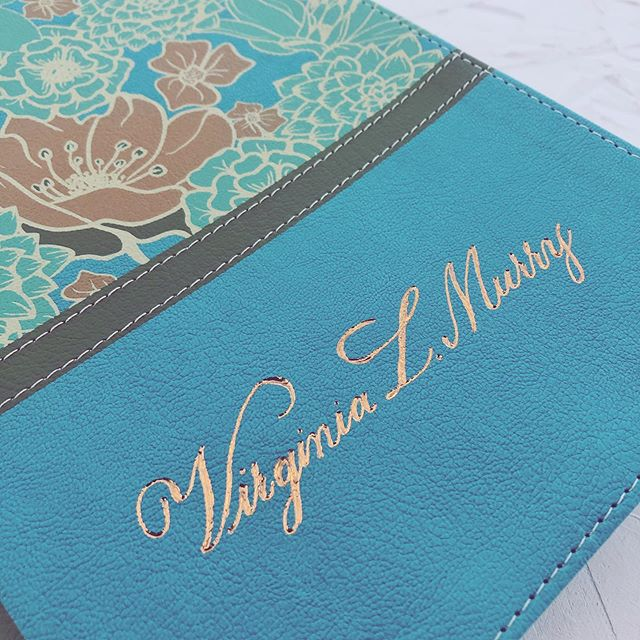 Copper foil on a gorgeous floral Bible with turquoise accents. 📖 I just love it when my clients treat themselves. 💙  #bible #custombible #monogrammedbible #foiling #calligraphy