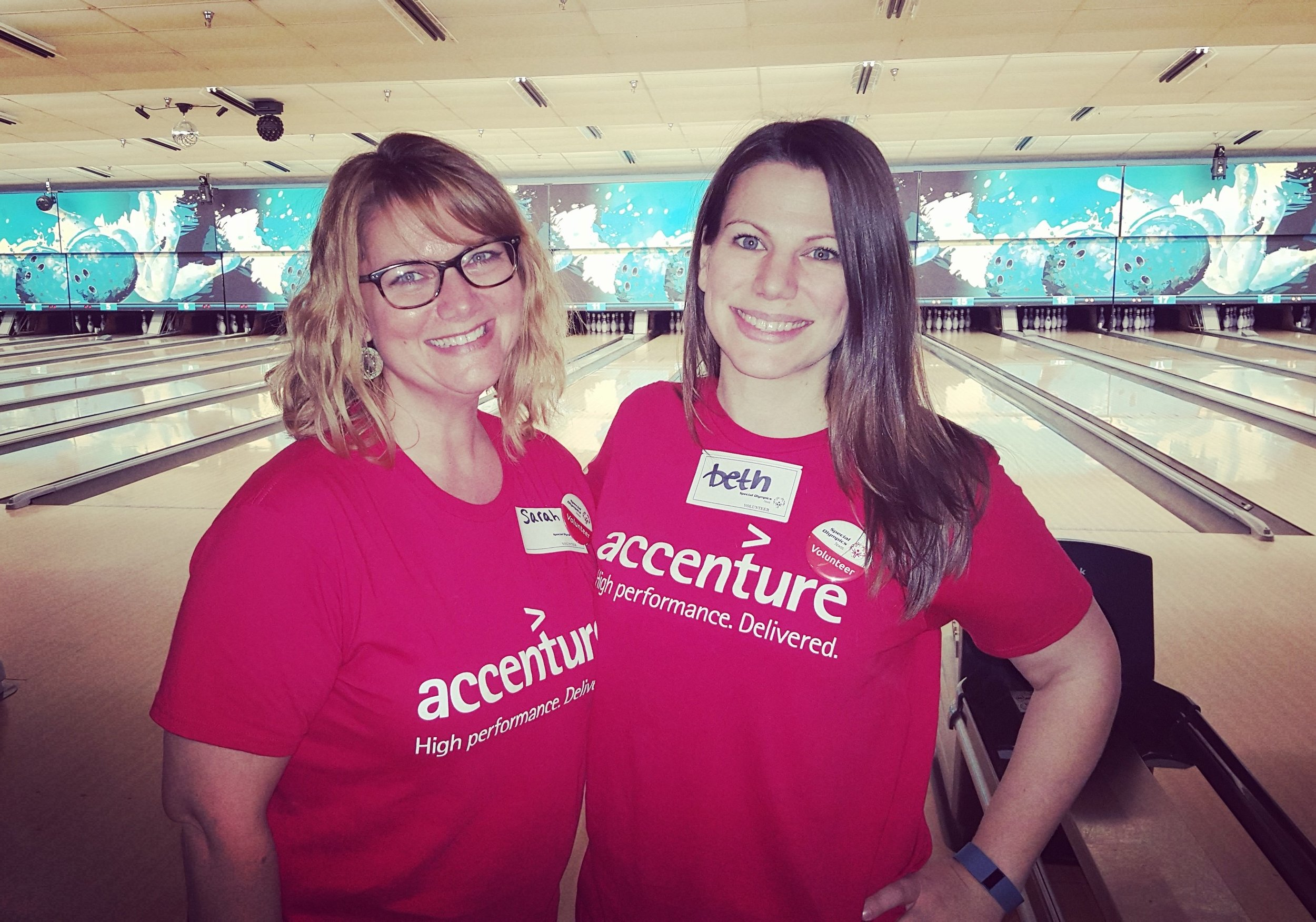 Sarah Cline, and her Austin ERG Co-lead, Beth Patterson during the Austin Special Olympics Bowling Event.