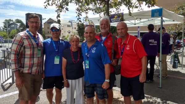 L to R: David Leudeka, Fried's personal trainer; Jon Sarosiek, Fried's coach; Barbara Fried, Fried's mother; Jonathan Fried, Team Virginia Tennis Athlete; Ron Manilla, Fried's performance coach; Rick Jeffrey, President, Special Olympics Virginia