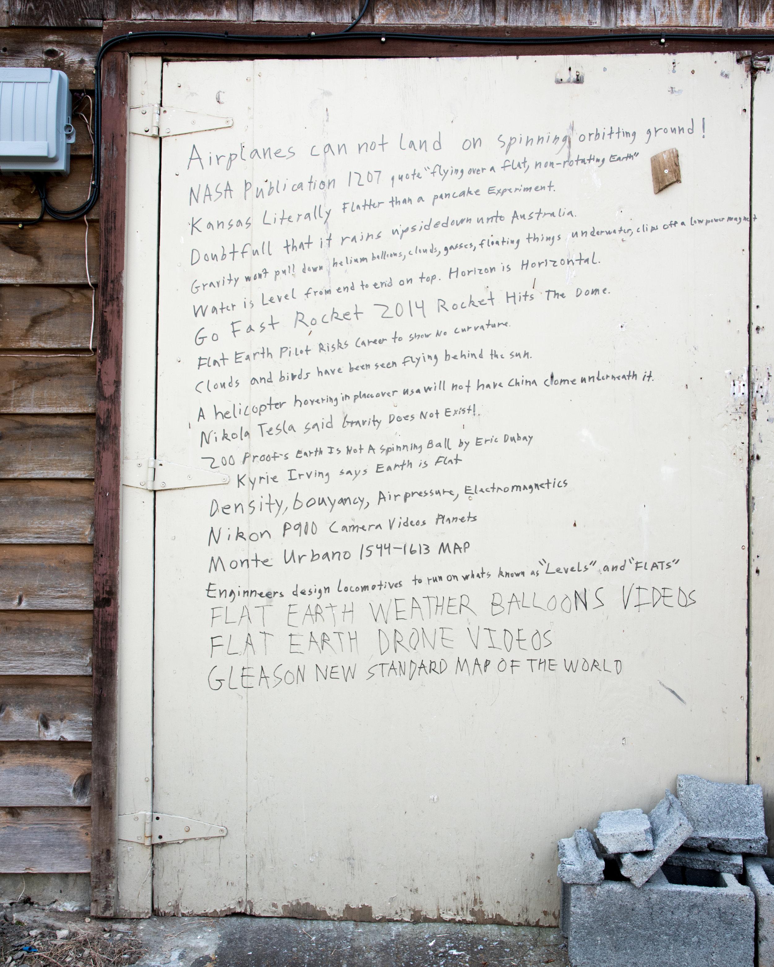 Flat Earth Manifesto, Johnson City, TN. 2017.