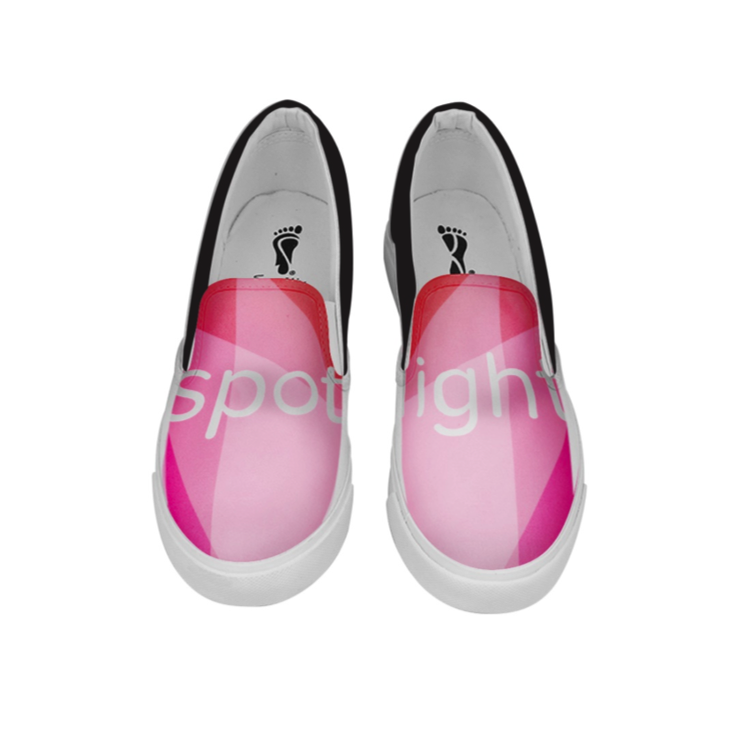 2. Split-Screen:  On the second option your artwork will be printed across both shoes.