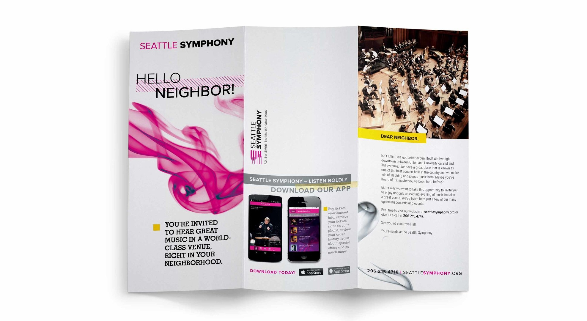 This brochure was distributed throughout Seattle to encourage subscribership while utilizing a friendly tone of voice to showcase the Symphony's inclusive community.