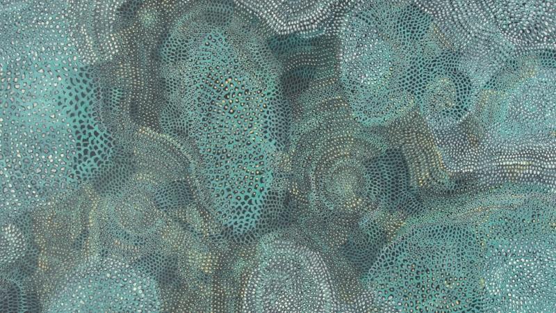 Susan Sensemann, Sky-glimmers (blue-green), acrylic on paper, 2012