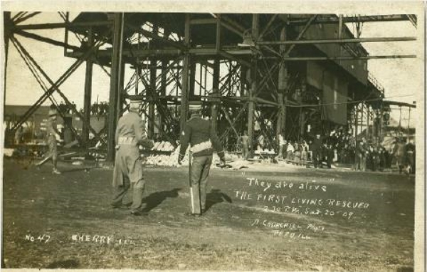 "Postcard of the rescue of miners trapped by the Cherry Mine Disaster 1909, ""They are Alive."""