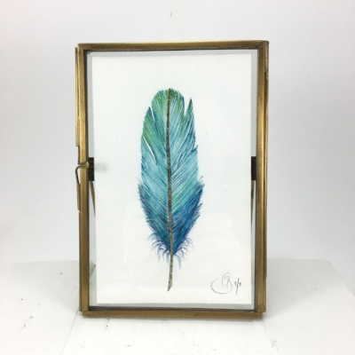 Hand painted feathers.