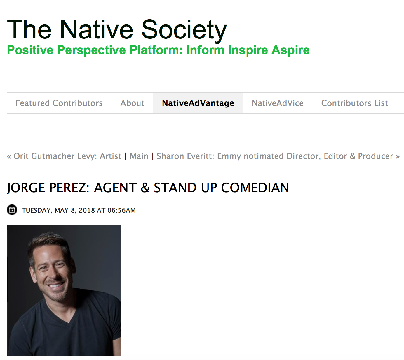 JORGE PEREZ  FOR THE NATIVE SOCIETY