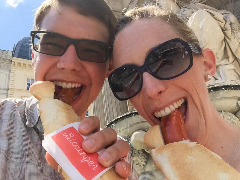 Enjoying our sausages