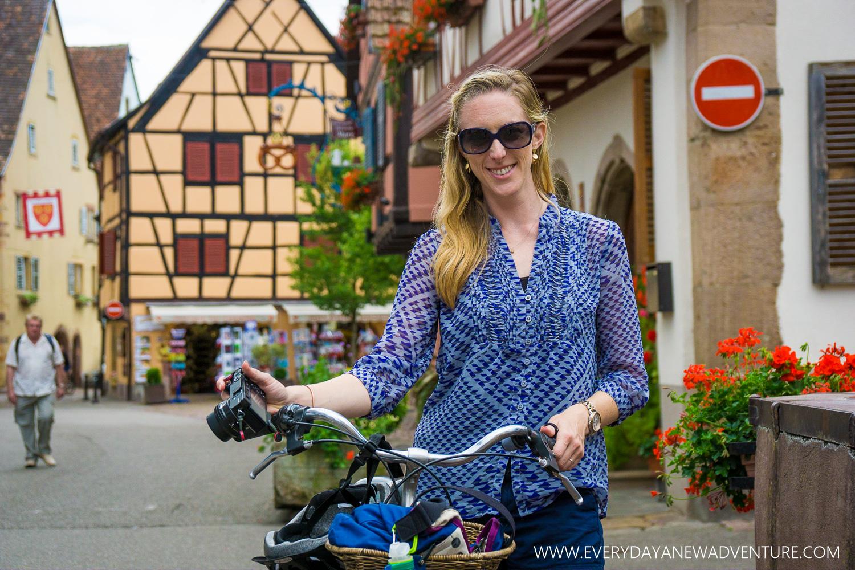 Biking through Eguisheim