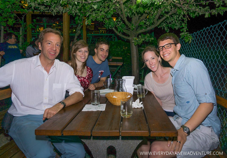 Enjoying dinner and wine at Sirbu Hueriger