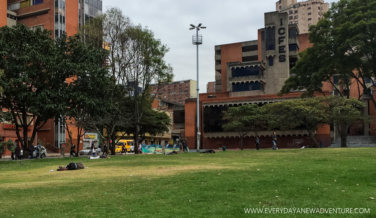 The main square/park in Bogota, and all of its homeless sleepers.