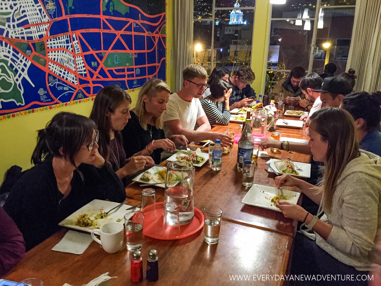 Group dinner at Community Hostel.