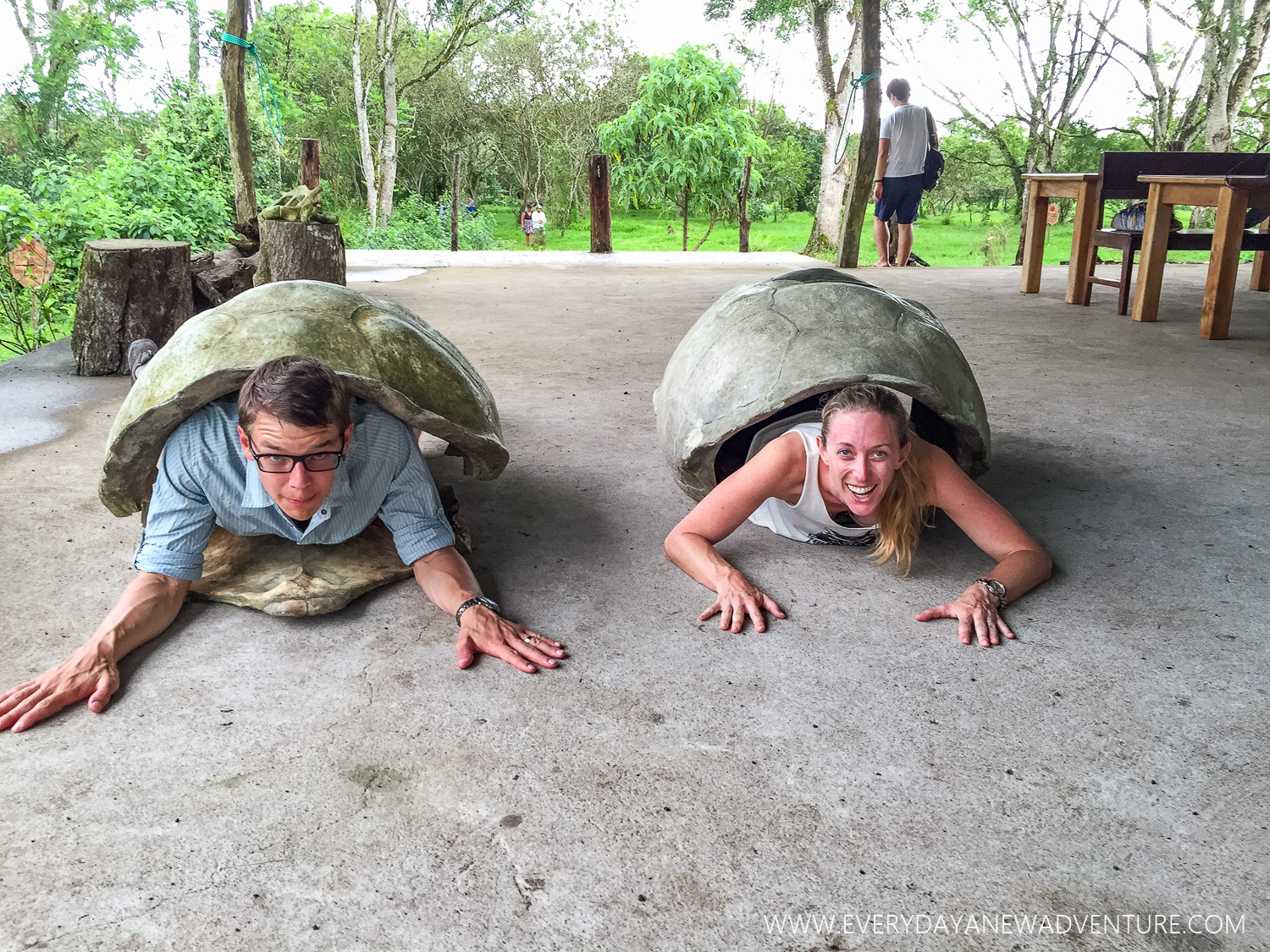 Seeing what it's like to carry around a turtle shell.